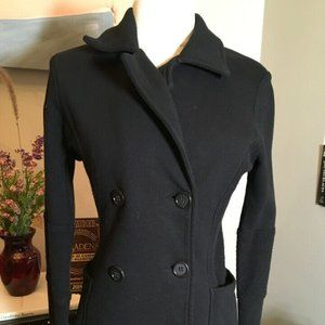 James Perse Size 2 Black Cotton Knit Jacket